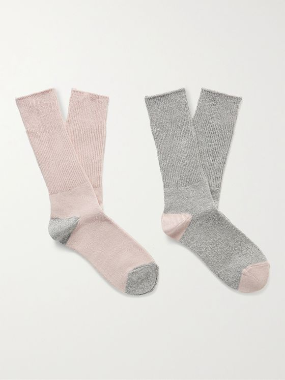 MR P. Two-Pack Colour-Block Stretch-Knit Socks