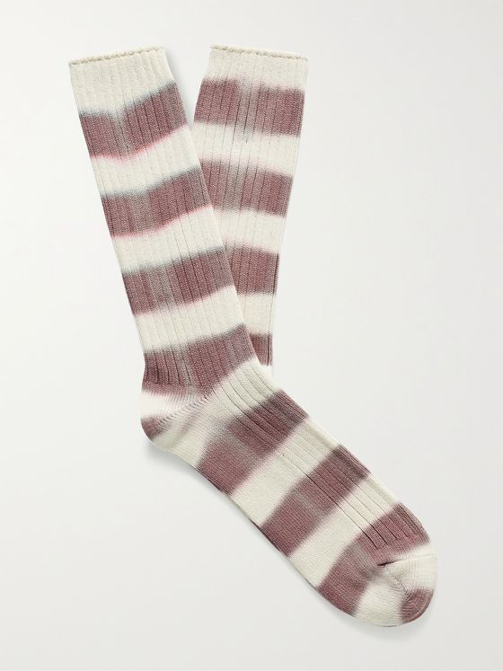 MR P. Ribbed Tie-Dyed Striped Cotton-Blend Socks