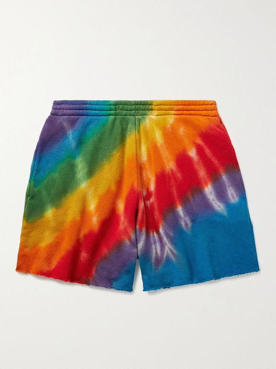 THE ELDER STATESMAN Rainbow Void Wide-Leg Tie-Dyed Cotton and Cashmere-Blend Shorts