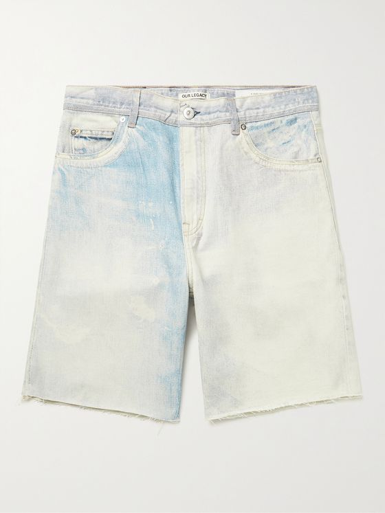 OUR LEGACY Frayed Bleached Denim Shorts