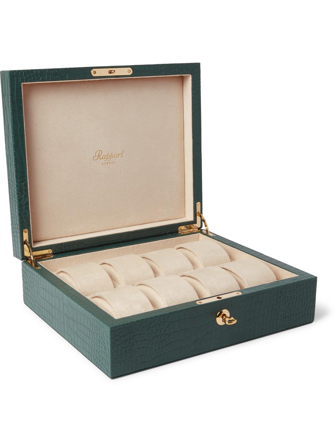 rapport london - croc-effect leather watch box - men - green