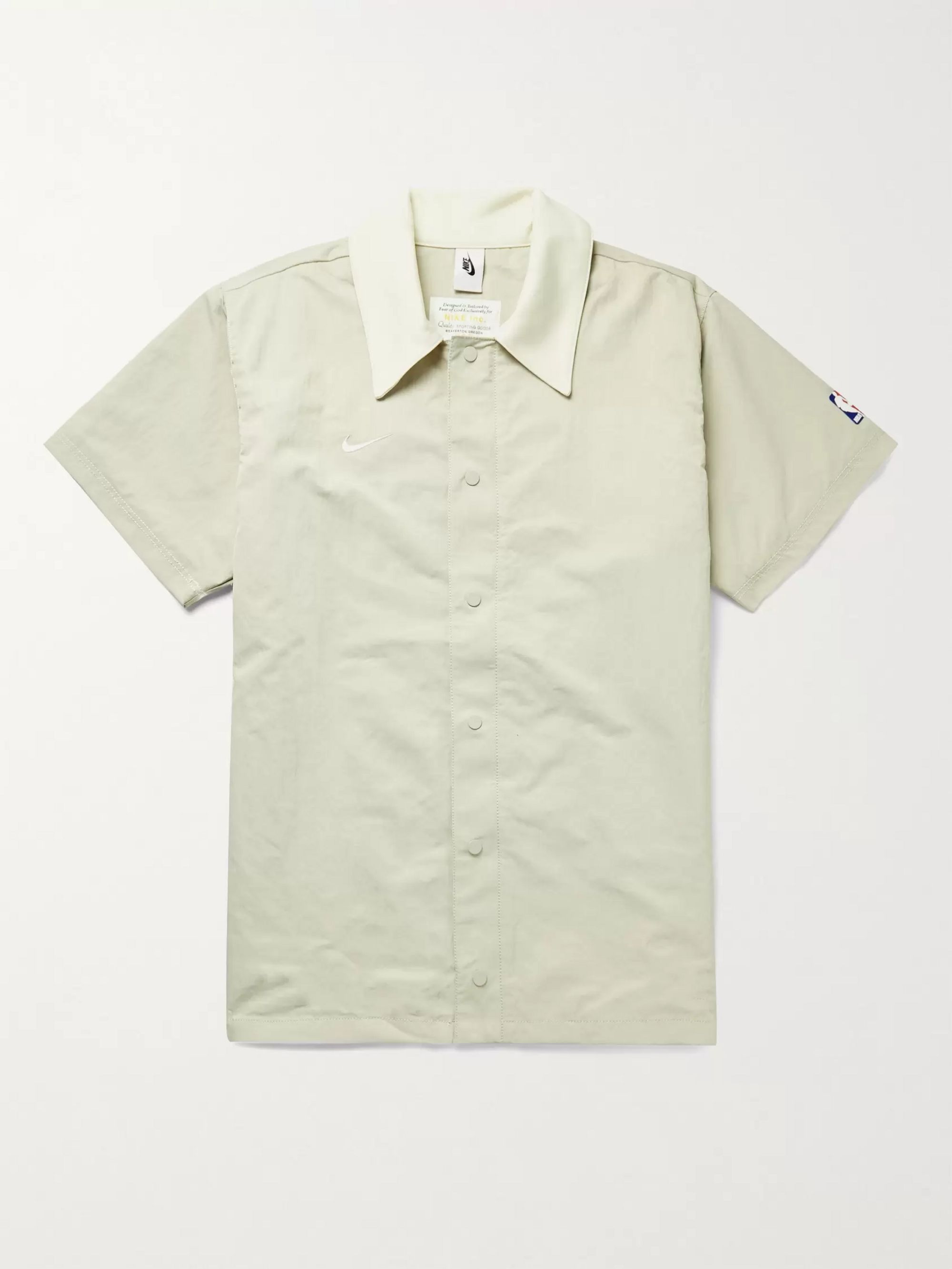 NIKE Fear of God NBA NRG Oversized Logo-Embroidered Jersey-Trimmed Nylon Overshirt