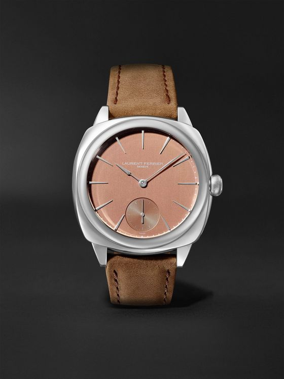 Laurent Ferrier Square Automatic 41mm Stainless Steel and Leather Watch, Ref. No. LCF013.AC.RG1.1
