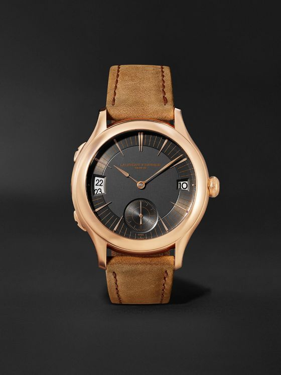Laurent Ferrier Traveller Automatic 41mm 18-Karat Red Gold and Leather Watch, Ref. No. LCF007.R5.AR1.1