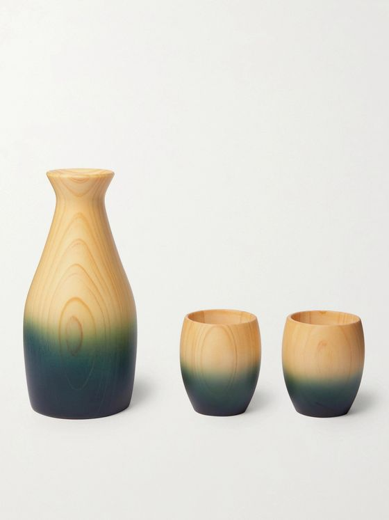 BY JAPAN +AOLA Indigo-Dyed Hinoki Cypress Sake Set