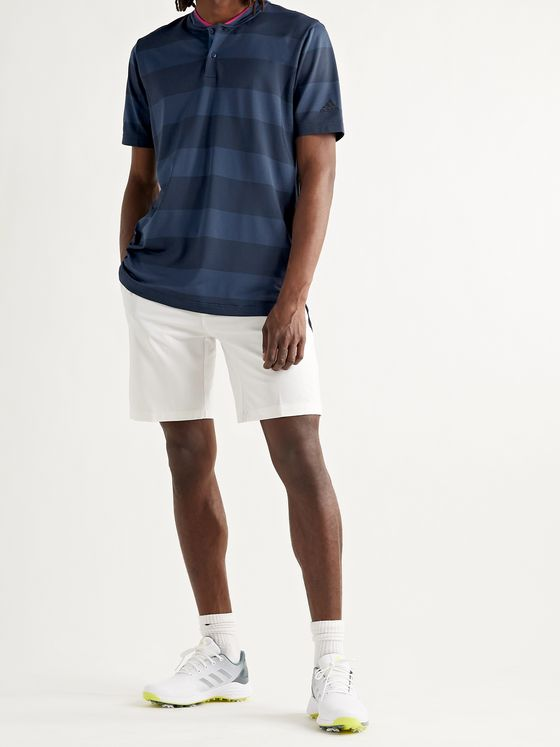 ADIDAS GOLF Striped Primeknit Golf Polo Shirt