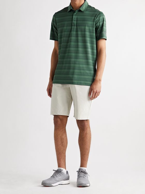 ADIDAS GOLF Striped Recycled Stretch-Jersey and Mesh Golf Polo Shirt
