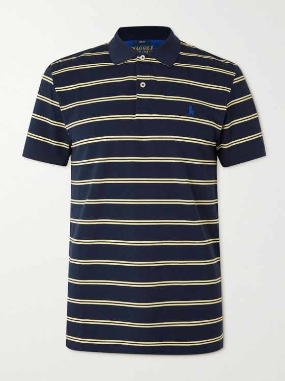 RLX Ralph Lauren Slim-Fit Striped Cotton-Blend Piqué Golf Polo Shirt