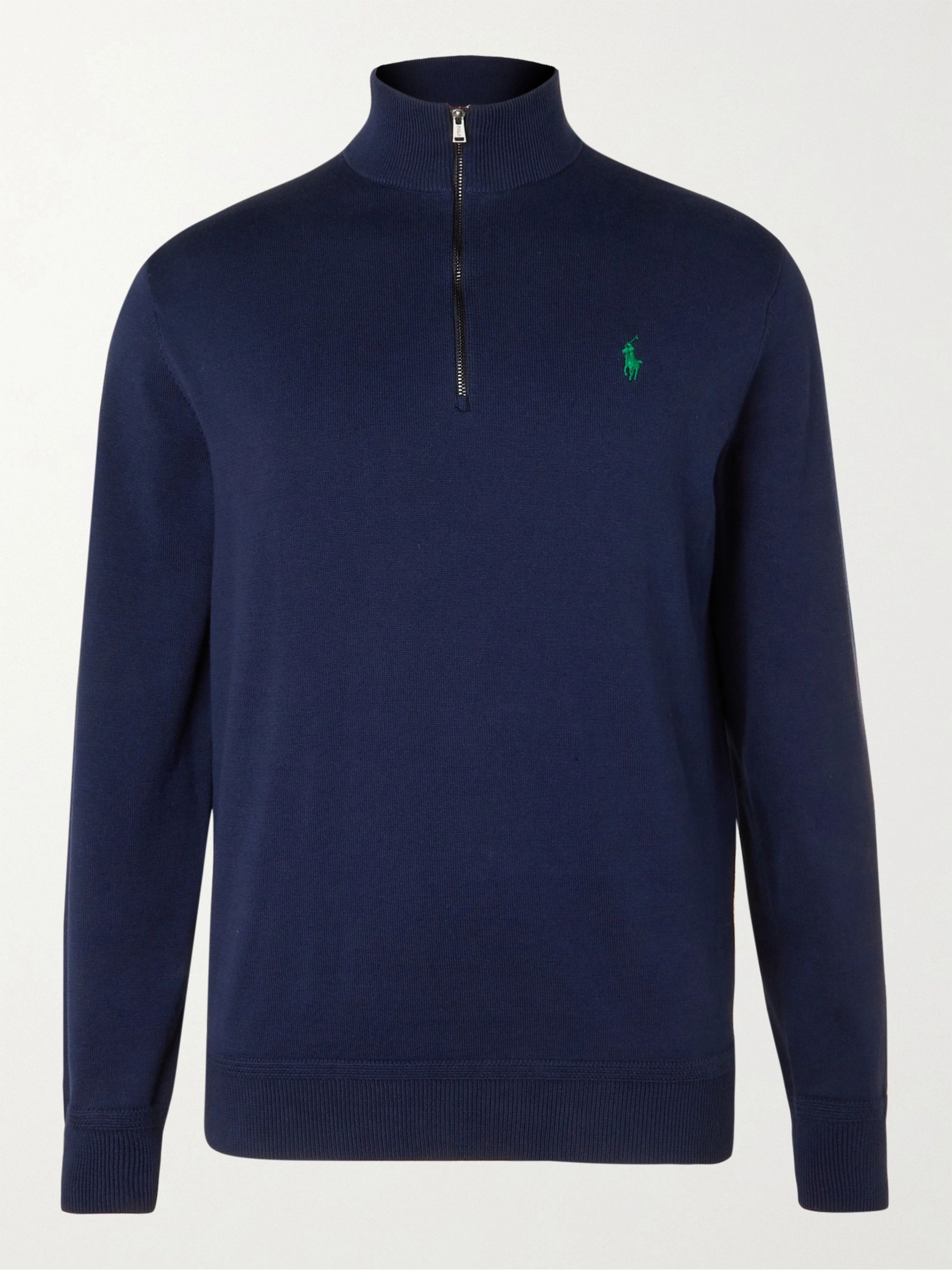 RLX Ralph Lauren Logo-Embroidered Cotton Half-Zip Golf Sweater