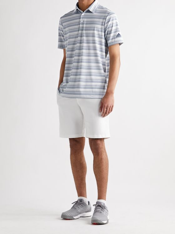 ADIDAS GOLF Striped Recycled Stretch-Jersey and Mesh Polo Shirt