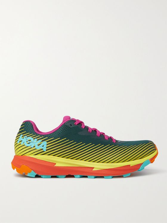 HOKA ONE ONE + Cotopaxi Torrent 2 Rubber-Trimmed Recycled Unifi REPREVE Running Sneakers