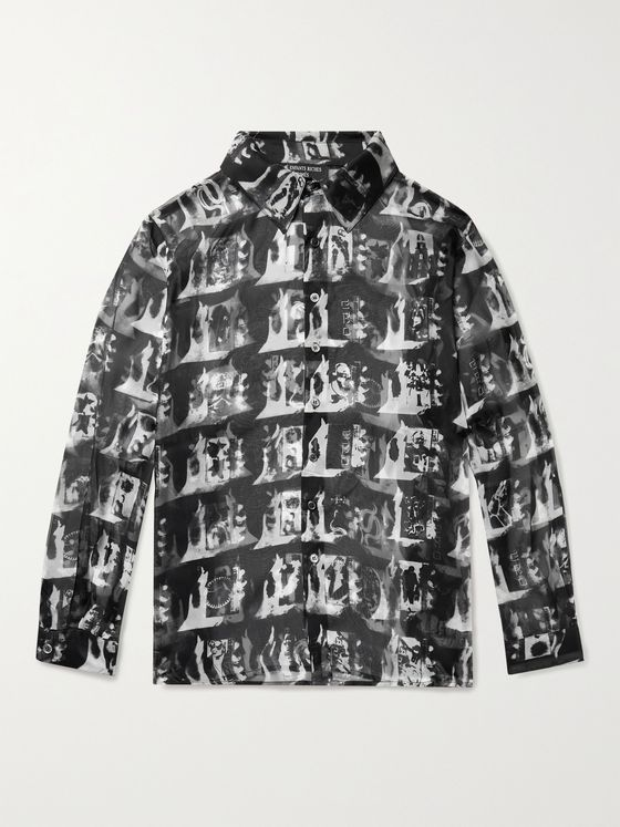 Enfants Riches Déprimés Printed Silk-Chiffon Shirt