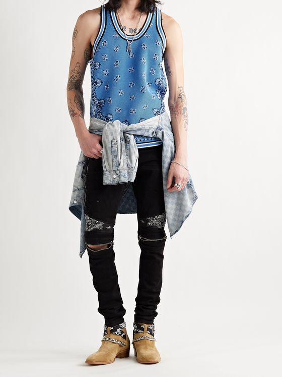 AMIRI Bandana-Jacquard Cotton and Cashmere-Blend Tank Top