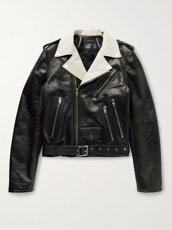 AMIRI Colour-Block Leather Biker Jacket