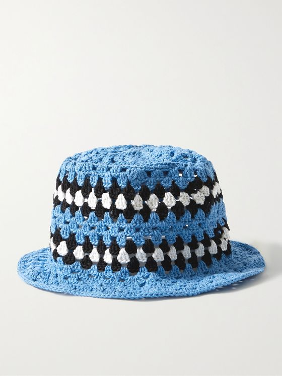 AMIRI Striped Crocheted Cotton Bucket Hat