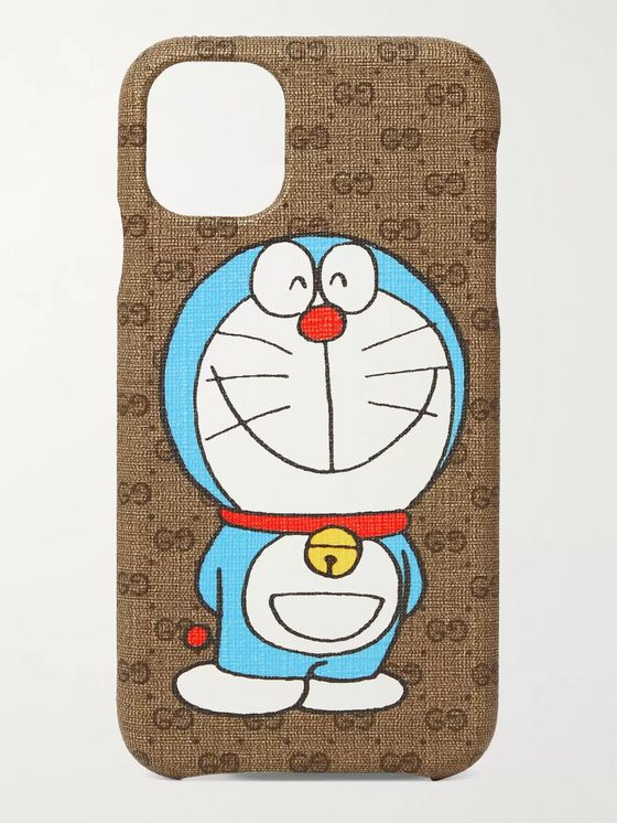 GUCCI + Doraemon Printed Monogrammed Coated-Canvas iPhone 11 Case