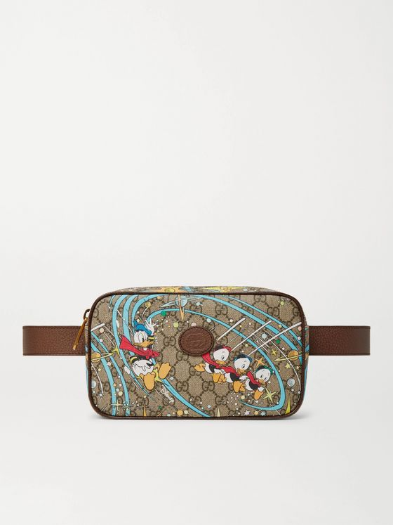 GUCCI + Disney Leather-Trimmed Printed Monogrammed Coated-Canvas Belt Bag