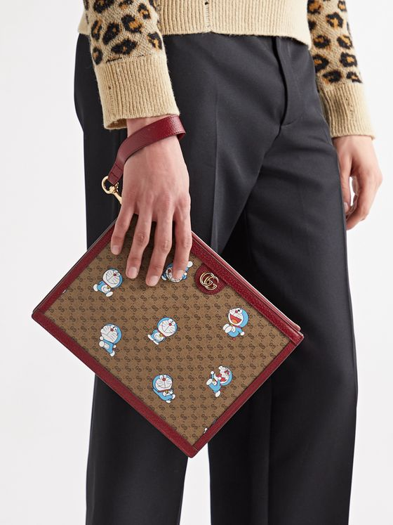 GUCCI + Doraemon Leather-Trimmed Printed Monogrammed Coated-Canvas Pouch