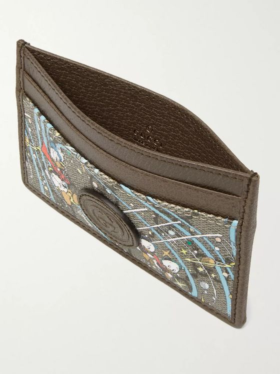 GUCCI + Disney Leather-Trimmed Printed Monogrammed Coated-Canvas Cardholder