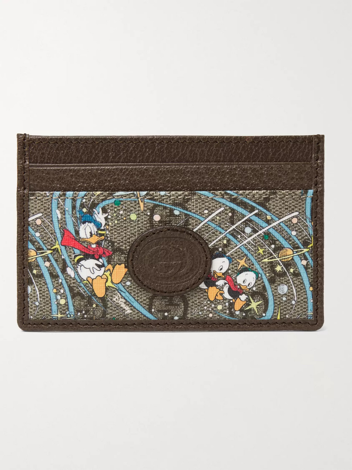 Gucci DISNEY PRINTED COATED-CANVAS AND LEATHER CARDHOLDER
