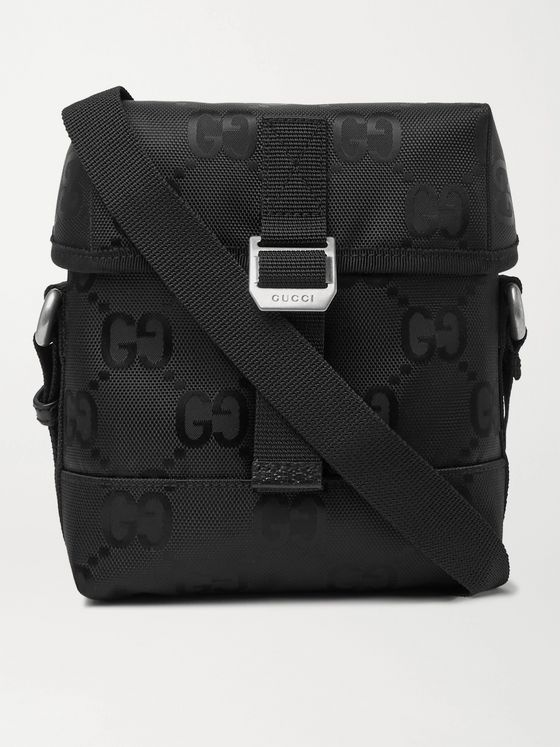 GUCCI Leather-Trimmed Monogrammed ECONYL Messenger Bag