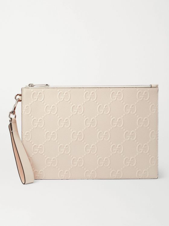 GUCCI Logo-Embossed Perforated Leather Pouch