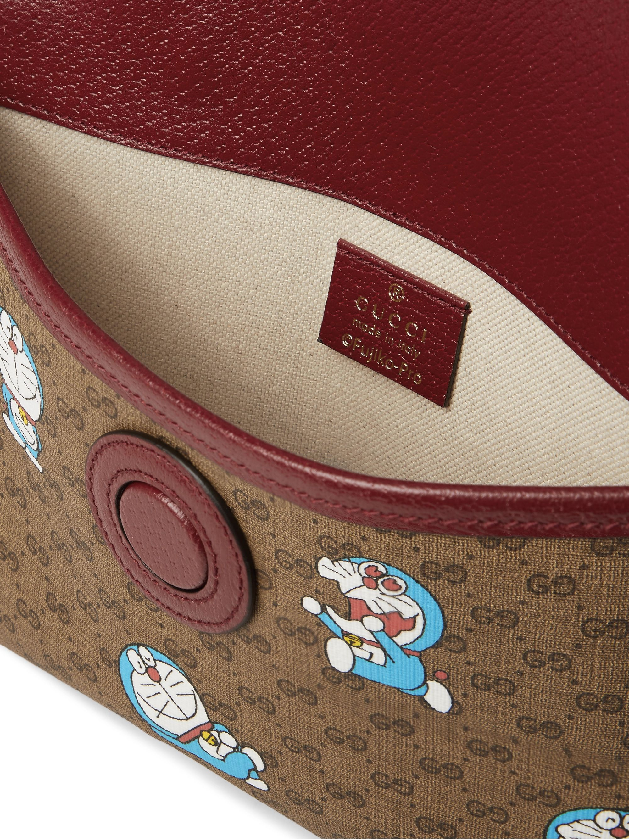 GUCCI + Doraemon Leather-Trimmed Printed Monogrammed Coated-Canvas Belt Bag