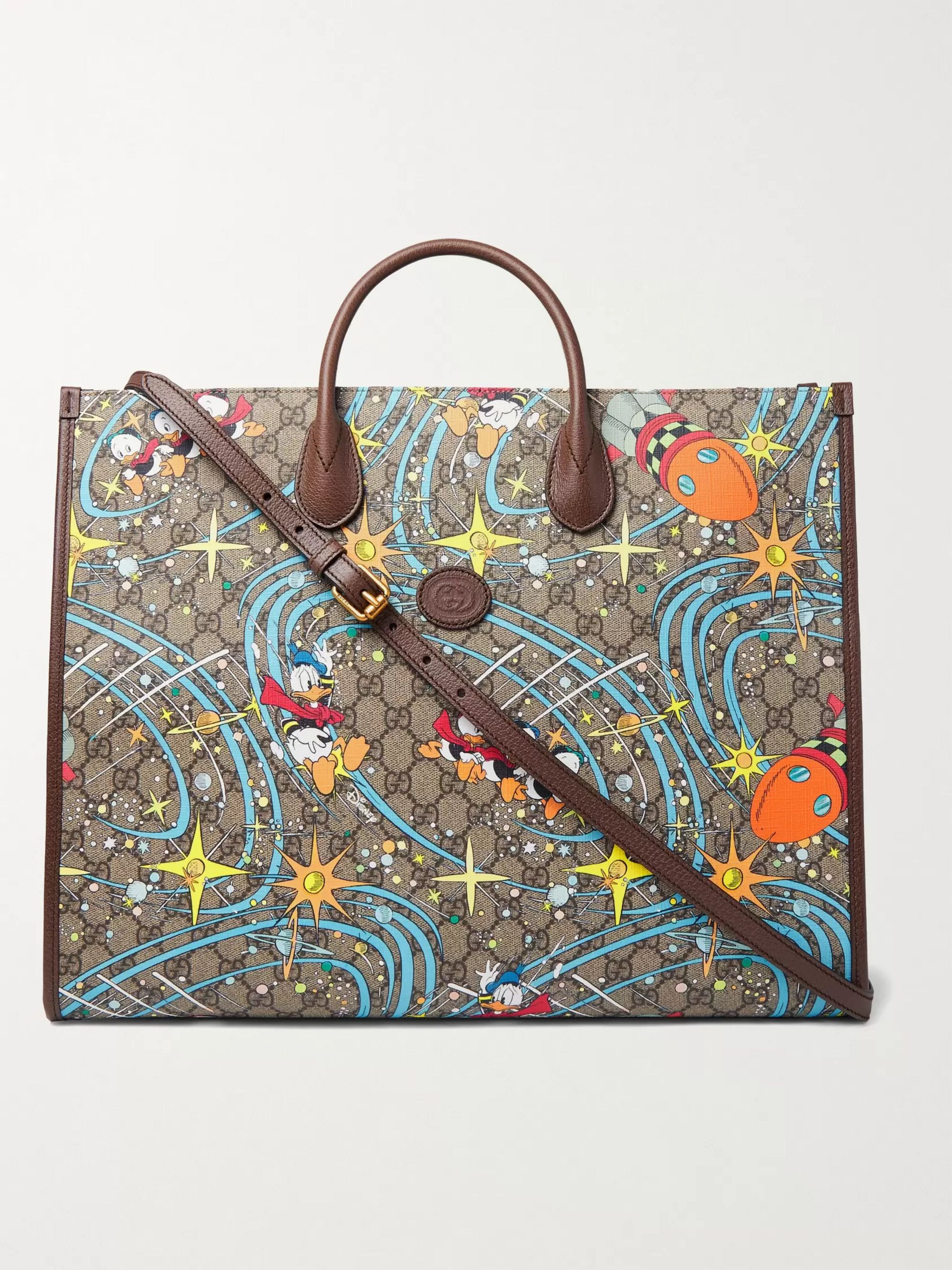 GUCCI + Disney Leather-Trimmed Printed Monogrammed Coated-Canvas Tote Bag