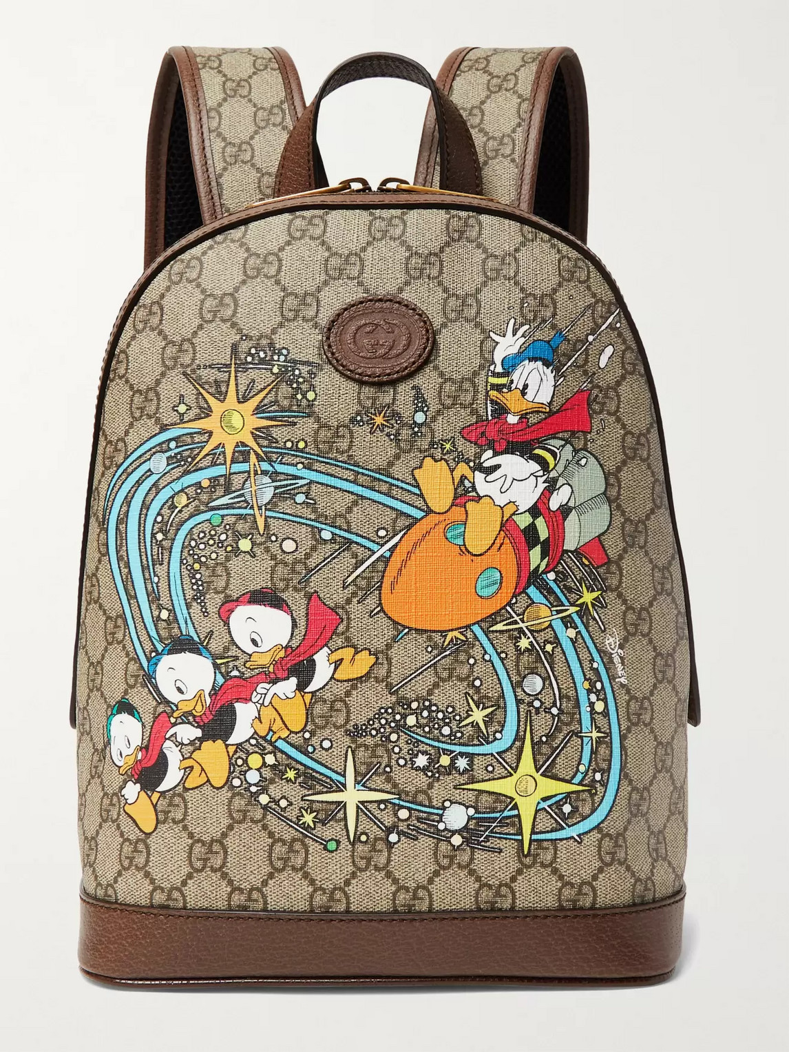 Gucci Disney Small Leather-trimmed Printed Monogrammed Coated-canvas Backpack In Brown