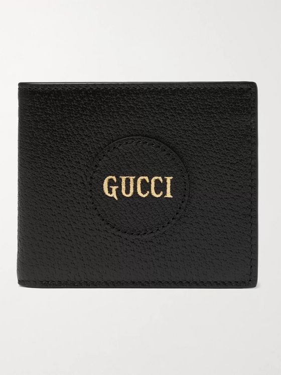 GUCCI Logo-Print Full-Grain Leather Billfold Wallet