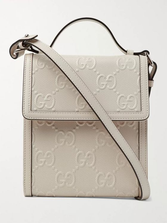 GUCCI Logo-Embossed Perforated-Leather Messenger Bag