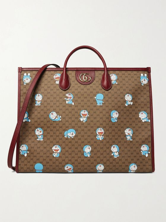 GUCCI + Doraemon Leather-Trimmed Printed Monogrammed Coated-Canvas Tote Bag