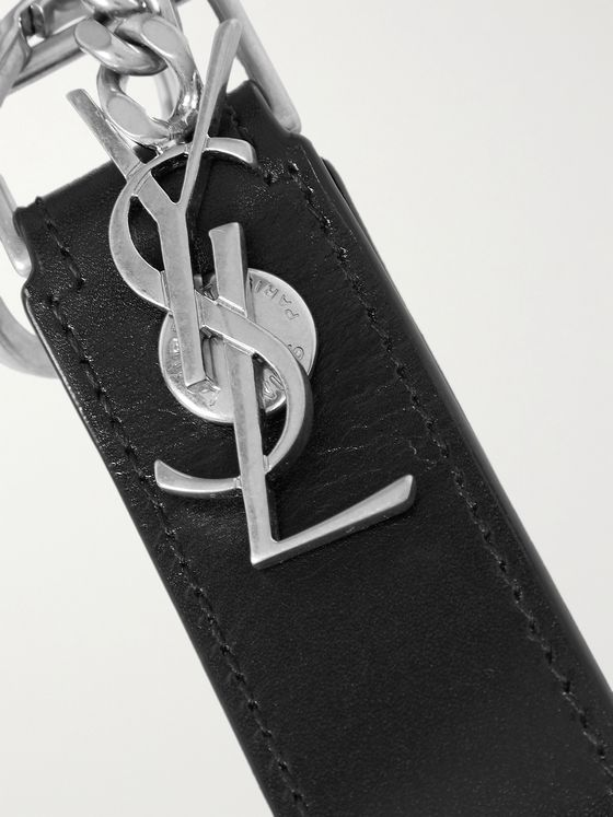SAINT LAURENT Leather and Burnished Silver-Tone Key Fob