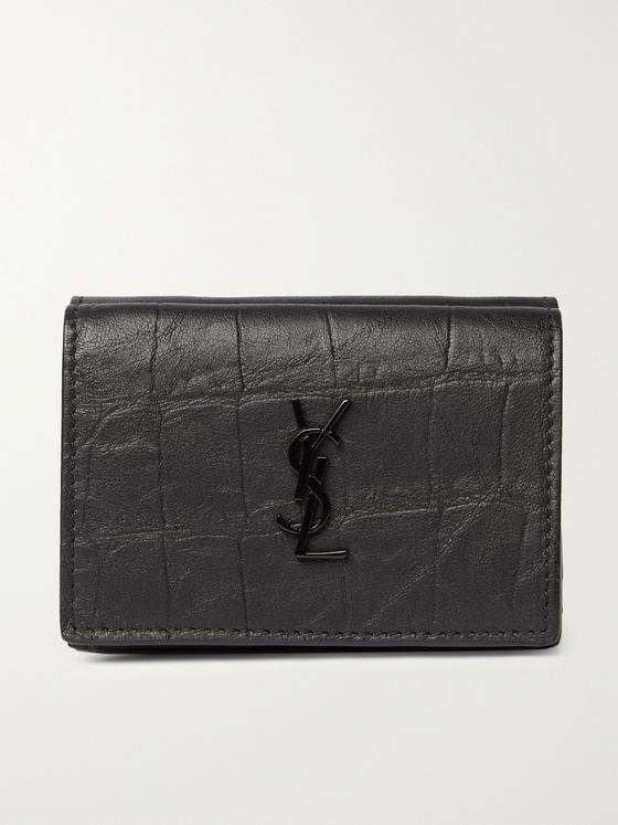 SAINT LAURENT Logo-Appliquéd Croc-Effect Leather Trifold Wallet