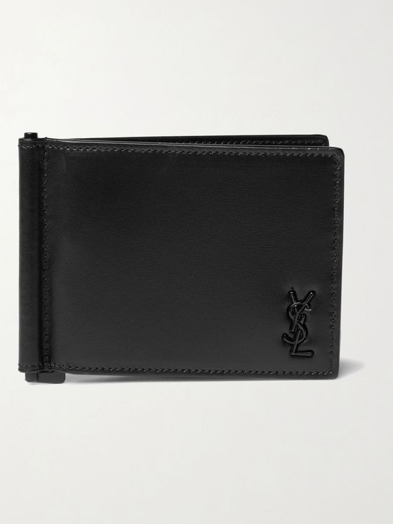 SAINT LAURENT Logo-Appliquéd Leather Wallet with Money Clip
