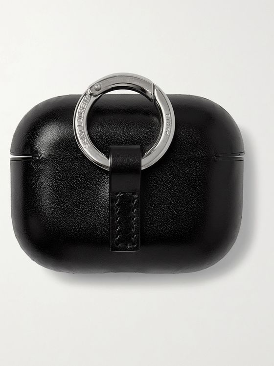 SAINT LAURENT Logo-Print Leather AirPods Pro Case