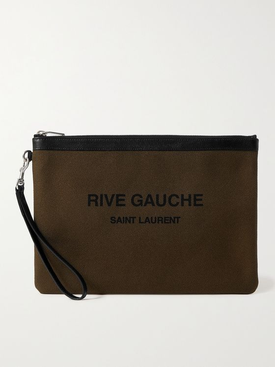 SAINT LAURENT Leather-Trimmed Logo-Print Canvas Pouch