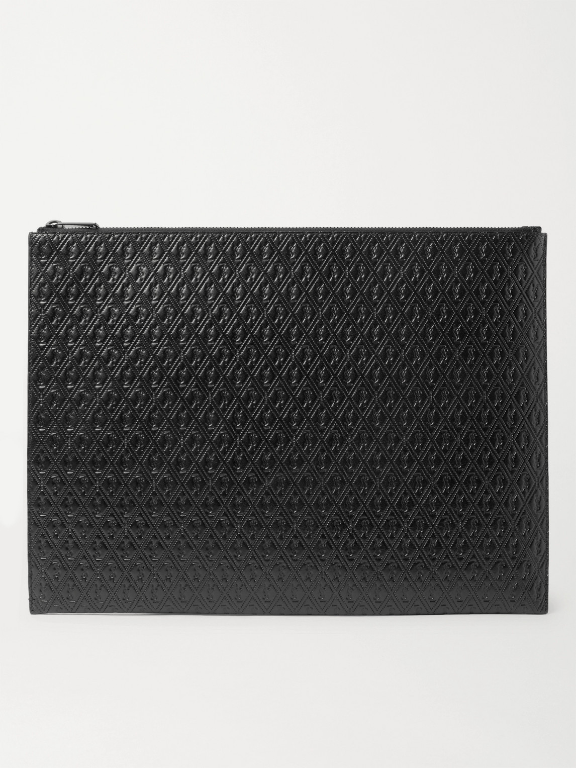 Saint Laurent Logo-debossed Leather Pouch In Black