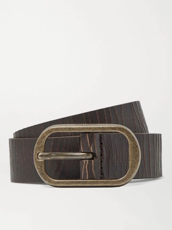 SAINT LAURENT 3cm Distressed Leather Belt