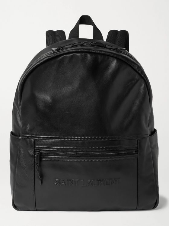 SAINT LAURENT Logo-Embossed Leather Backpack