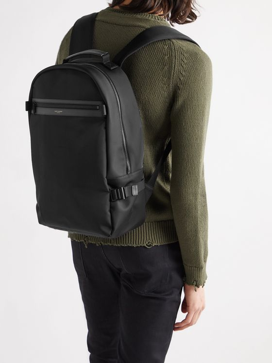 SAINT LAURENT City Trekking Leather-Trimmed Shell Backpack