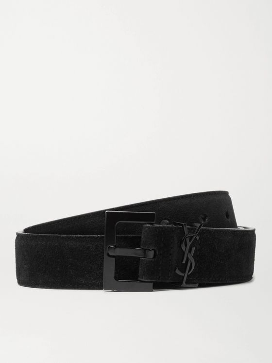 SAINT LAURENT 3cm Logo-Embellished Suede Belt