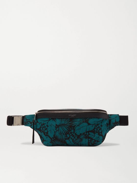 SAINT LAURENT Leather-Trimmed Printed Canvas Belt Bag