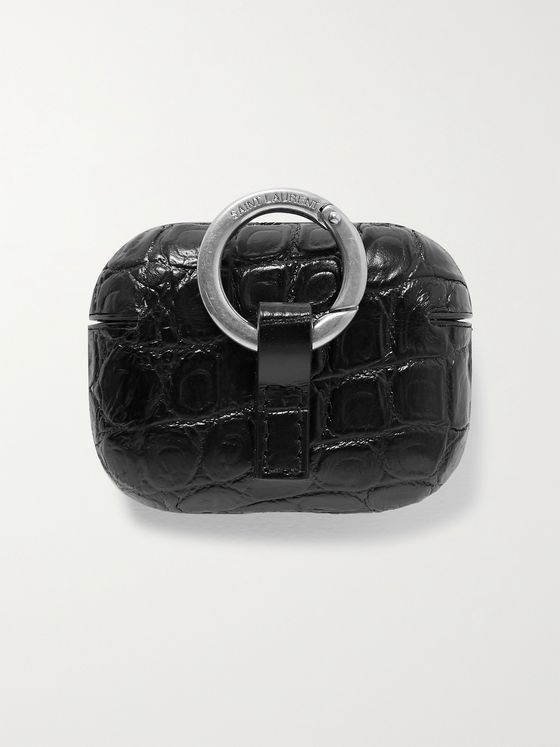 SAINT LAURENT Logo-Print Croc-Effect Leather AirPods Pro Case