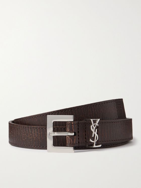 SAINT LAURENT 2cm Logo-Embellished Leather Belt