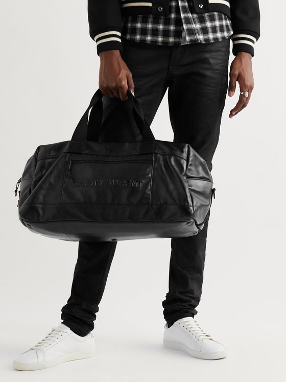 SAINT LAURENT Logo-Embossed Leather Holdall