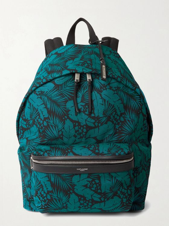 SAINT LAURENT Leather-Trimmed Printed Canvas Backpack