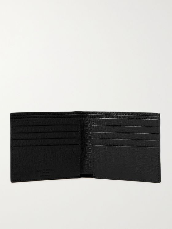 SAINT LAURENT Printed Pebble-Grain Leather Billfold Wallet
