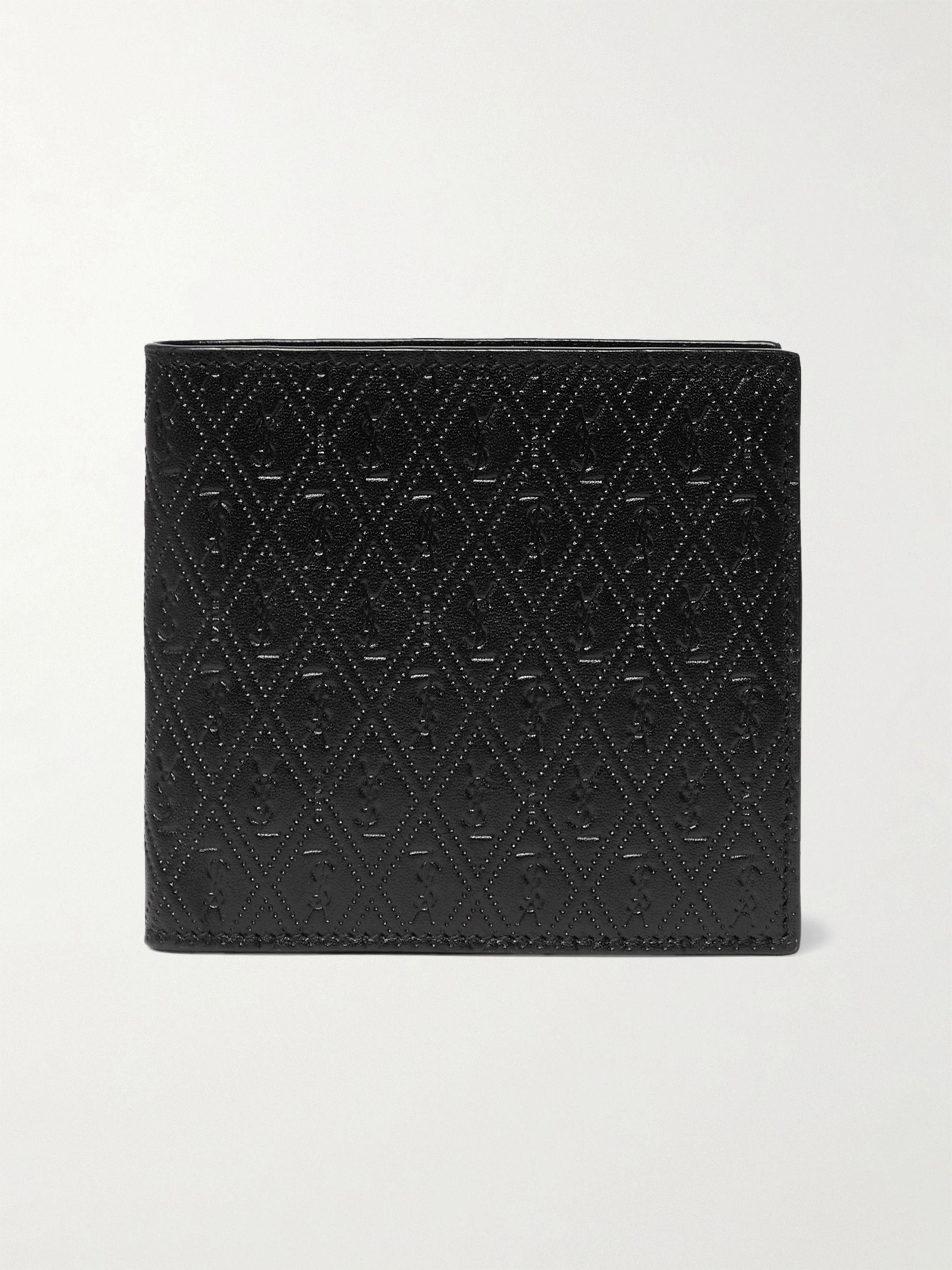 생 로랑 반지갑 Saint Laurent East/West Logo-Debossed Leather Billfold Wallet,Black