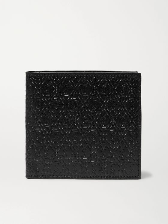 SAINT LAURENT East/West Logo-Debossed Leather Billfold Wallet